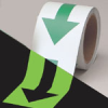 Glow-in-the-Dark Arrow Tape (B-324; Green and Phosphorescent; (green standard style arrow on phosphorescent)) -- 754476-90973