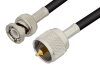 UHF Male to BNC Male Cable 12 Inch Length Using RG223 Coax -- PE3803-12 -Image
