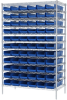 Akro-Mils 2000 lb Adjustable Blue Chrome Steel Open Adjustable Fixed Shelving System - 66 Bins - 2000 lb Total Capacity - AWS244830164 BLUE -- AWS244830164 BLUE - Image
