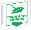 Brady Silk Screened Rectangle White Spill Response Equipment & Spill Station Sign - 8 in Width x 8 in Height - TEXT: SPILL RESPONSE EQUIPMENT - L0SR03A -- 754476-45477