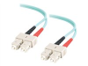 1m USA-Made 10 Gb SC/SC Duplex 50/125 Multimode Fiber Patch Cable - Aqua -- 21660