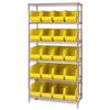 "36"" x 18"" x 74"" - 6 Shelf - Wire Shelving Unit with (20) Yellow Bins -- WSBQ265Y -- View Larger Image"
