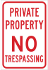 Brady B-959 Aluminum Rectangle White Restricted Area / No Trespassing Sign - Reflective - TEXT: PRIVATE PROPERTY NO TRESSPASS - 141793 -- 754473-19019