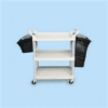 Three-Shelf Service Cart with Brushed Aluminum Uprights -- RCP 9T65-71 BEI