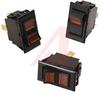 Switch, Rocker, Solder TerminalS, ON-NONE-OFF, SPST, BLK W/ RED LIGHT, 125V NEON -- 70131603 - Image