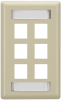6-Port Electric Ivory Single-Gang Keystone Wallplate -- WP478C - Image