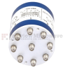 SP8T Latching DC to 18 GHz Terminated Electro-Mechanical Relay Switch, Self Cut Off, Auto Reset, Indicators, Diodes, up to 240W, 28V, SMA -- SEMS-4079-SP8T-SMA - Image