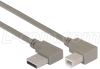 Right Angle USB Cable, Left Angle A Male/Right Angle B Male, 3.0m -- CA90LA-RB-3M