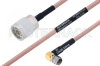 MIL-DTL-17 N Male to SMA Male Right Angle Cable 18 Inch Length Using M17/60-RG142 Coax -- PE3M0015-18 -Image