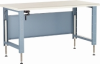 Adjustable Workbench with Shelf, Wood Comp. Top (60