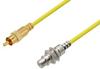75 Ohm RCA Male to 75 Ohm RCA Female Bulkhead Cable 36 Inch Length Using 75 Ohm PE-B159-YW Yellow Coax -- PE3W01571/YW-36 -Image