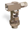 "Inverted Angle Heavy Duty Sight Feed Valve, 3/8"" Female NPT Inlet, 3/8"" Female NPT Outlet, 1""-14 Remote Mounting Thread, Tamperproof -- B743-11 -- View Larger Image"
