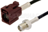 SMA Female to Bordeaux FAKRA Jack Cable 48 Inch Length Using RG174 Coax -- PE39350D-48 -Image