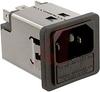 Filter, AC Line; 1; 125/250 VAC; 10 A; 0.5 mA (Max.) @ 250 V/60 Hz; Black -- 70080618 - Image