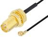 Reverse Polarity SMA Female Bulkhead to UMCX 2.1 Plug Cable 12 Inch Length Using 0.81mm Coax, RoHS -- PE3CA1033-12 -Image