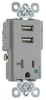 Combination Switch/Receptacle -- TR-8301USBGRY -- View Larger Image