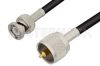 UHF Male to BNC Male Cable 60 Inch Length Using 53 Ohm RG55 Coax -- PE34591-60 -Image