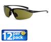 Safety Glasses: ANSI Z87+, green lens, black 1/2 frame, 12/pk -- SG-9221-12