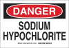 Brady B-401 Polystyrene Rectangle White Chemical, Biohazard, Hazardous & Flammable Material Sign - 10 in Width x 7 in Height - TEXT: DANGER SODIUM HYPOCHLORITE - 123654 -- 754473-79296