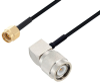 SMA Male to TNC Male Right Angle Cable 100 cm Length Using PE-SR405FLJ Coax -- PE3W07181-100CM -Image