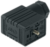 GMNL DIN Standard Field Attachable Connector: Form B, 3-pin (2+1PE), UL 1977, black housing, screw type, PG9; with bridge rectifier and varistor, 230 V AC/DC, 1 A -- GMNL 209 NJ GB1 black - Image