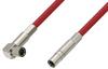 75 Ohm Mini SMB Plug to 75 Ohm Mini SMB Plug Right Angle Cable 12 Inch Length Using 75 Ohm PE-B159-RD Red Coax -- PE38140/RD-12 -Image