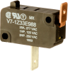 MICRO SWITCH V7 Series Miniature Basic Switch, Single Pole Double Throw Circuitry, 25 A at 277 Vac, Pin Plunger Actuator, 225 gf Maximum Operating Force, Silver Contacts, Quick Connect Termination