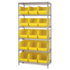 "36"" x 18"" x 74"" - 6 Shelf - Wire Shelving Unit with (15) Yellow Bins -- WSBQ260Y -- View Larger Image"