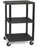 WT42E - Utility Cart, with Three Tuffy Flat Shelves, Black -- GO-47600-50