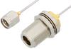 SMA Male to N Female Bulkhead Cable 6 Inch Length Using PE-SR047AL Coax -- PE34151LF-6 -Image