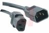 Cord, Jumper ; 10 A; 3 Ft. 3 in.; 125 V; Black; C13 connector; C14 Shrouded Plug -- 70125974 - Image