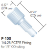 "One-Piece PCTFE Fingertight Fitting for 1/8"" OD Tubing -- P-100 - Image"