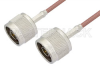 75 Ohm N Male to 75 Ohm N Male Cable 12 Inch Length Using 75 Ohm RG179 Coax -- PE3307-12 -Image