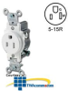 Leviton Narrow Body Single Receptacle 15 Amp, 125 Volt,.. -- T5015