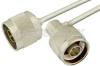 N Male to N Male Right Angle Semi-Flexible Precision Cable 18 Inch Length Using PE-SR402FL Coax, LF Solder, RoHS -- PE39453-18 -Image