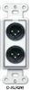 Dual XLR 3-pin Male Jacks on D Plate - Solder type -- D-XLR2M