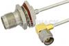 SMA Male Right Angle to TNC Female Bulkhead Semi-Flexible Precision Cable 6 Inch Length Using PE-SR405FL Coax , LF Solder -- PE39476-6 -Image
