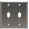 Stainless Steel Wallplate, DB9, Double-Width, 2-Punch -- WP073