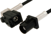 Black FAKRA Plug to FAKRA Jack Right Angle Cable 60 Inch Length Using PE-C100-LSZH Coax -- PE38749A-60 -Image