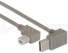 Right Angle USB cable, Up Angle A Male/ Right Angle B Male, 0.75m -- CA90UA-90RB-075M