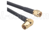 RG58C Coaxial Cable, SMA Male / 90º Male, 2.0 ft -- CCS58A-2HR