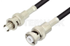 MHV Male to SHV Plug Cable 12 Inch Length Using RG223 Coax -- PE34411-12 -Image