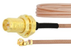RP SMA Female Bulkhead to UMCX 2.5 Plug Cable RG178 Coax in 9 Inch and RoHS Compliant -- FMCA1019-9 -Image