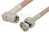 SMA Male Right Angle to BNC Male Cable 6 Inch Length Using RG400 Coax -- PE3642-6 -Image