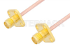 SMA Female 4 Hole Flange to SMA Female 4 Hole Flange Cable 60 Inch Length Using RG405 Coax -- PE3223-60 -Image