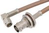 SMA Male Right Angle to BNC Female Bulkhead Cable 12 Inch Length Using RG400 Coax -- PE34957-12 -Image