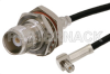TNC Female Bulkhead to MCX Plug Right Angle Cable 60 Inch Length Using RG174 Coax -- PE33799-60 -Image