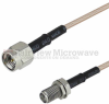 SMA Male to SMA Female Bulkhead Cable RG-316 Coax in 12 Inch and RoHS -- SCA42316-12 -Image