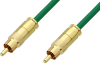 75 Ohm RCA Male to 75 Ohm RCA Male Cable 12 Inch Length Using 75 Ohm PE-B159-GR Green Coax -- PE38133/GR-12 -Image