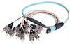 MPO Male to 12x ST Fan-out, 12 Fiber Ribbon, OM3 10G 50/125 Multimode, OFNR Jacket, Aqua, 0.5m -- MPM12OM3-ST-05 - Image